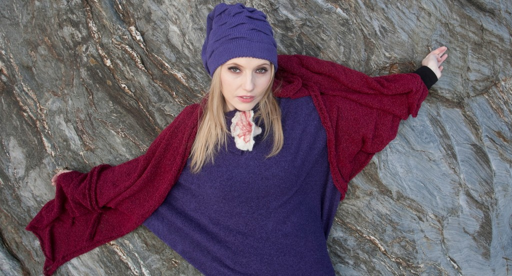 Purple Beanie Hat..acrylic/wool Grape Poncho with Flower ..acrylic/nylon Berry (red) wrap...acrylic/nylon