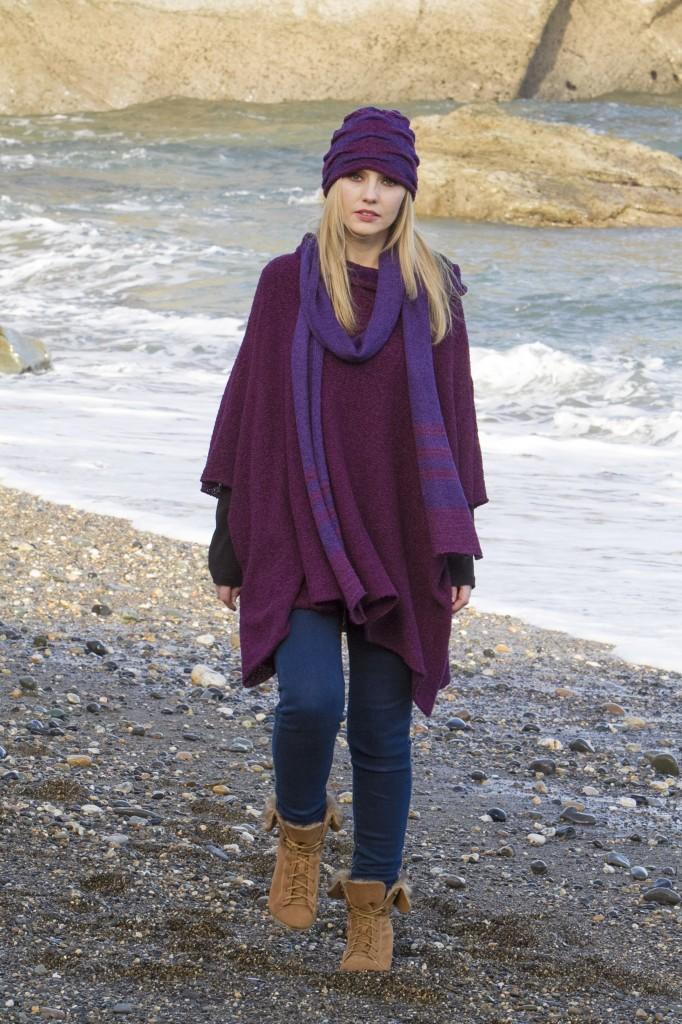 Grape/Purple hat and Scarf..acrylic/wool Grape Waterfall jumper..acrylic/nylon