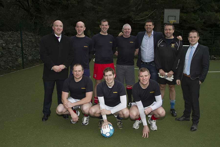 Gardai from Wicklow Garda Station took part in a friendly match with a team from Tiglin.