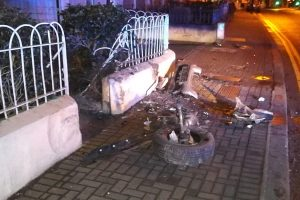 The debris from the accident on Sunday morning