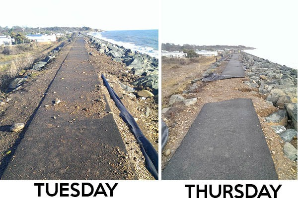 Before and after: Storm damage on the seawalk in Arklow.