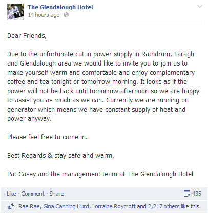 The Glendalough Hotel offers shelter to residents affected by the storm.