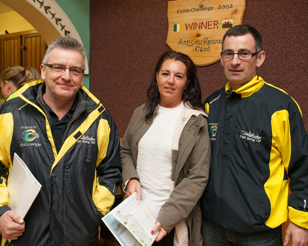 Sean Penston, Catriona Renyolds and Thomas Farren at the Celtic Challenge meeting in the Arklow Rowing Club