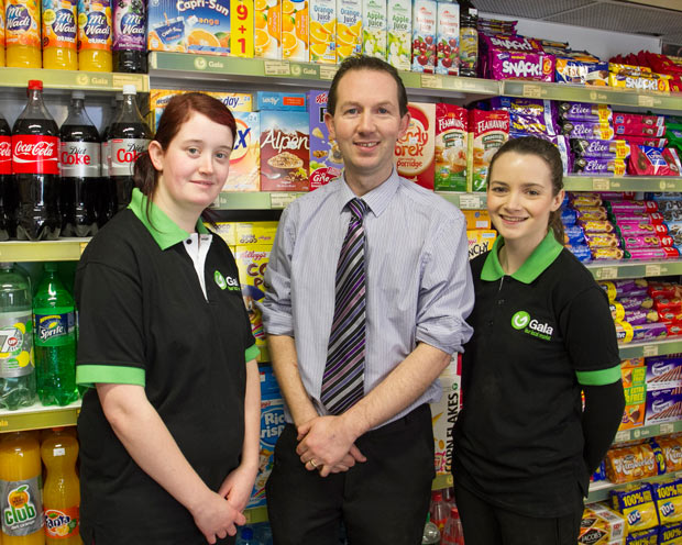 Amy Porter, Michael Kelly and Megan Byrne at the opening of the new Gala supermarket in Rathdrum