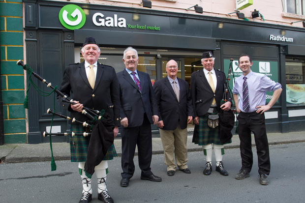 Jimmy Clarke, Tom Doyle, Dick Murphy, Richard Flockhart and Michael Kelly at the opening of the new Gala supermarket in Rathdrum