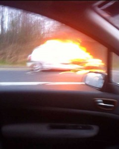 The Clio on fire on the N11 this morning