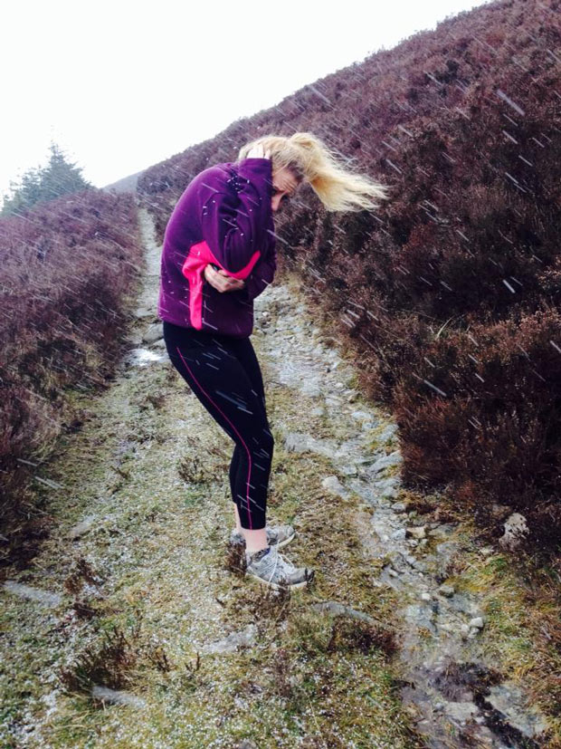 Jess Lively got caught in the hail while hiking up Croghan.