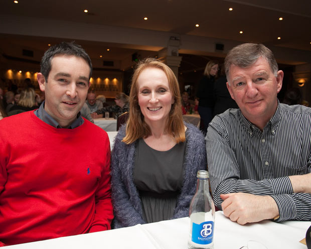 Will Winters, Laura McLoughlin and Pascal Burke at the Wicklow Lions club table quiz in the Grand hotel, Wicklow town