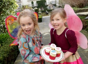 Abigail Fitzgerald (5), right, and Alice Sinclair (4) launch Alzheimer's Tea Day.