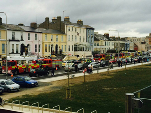 The scene on Strand Road on Saturday afternoon