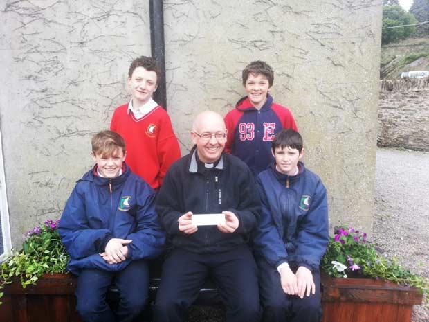 Eoghan Copeland, Luke Sinnott (br)Sean Kehoe ,Father Donal Roche & Jordan Sinnott in the Abbey Grounds.