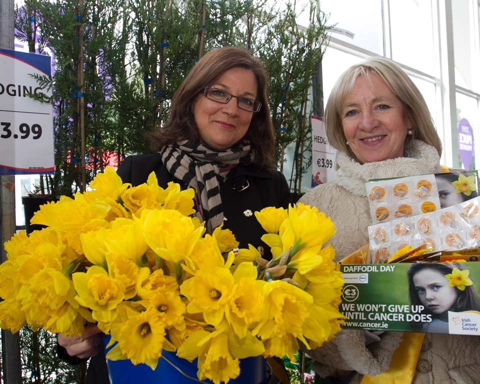 Margo Winters and Susan Levelle pictured during daffodil day in aid of Irish Cancer Support in Wicklow town