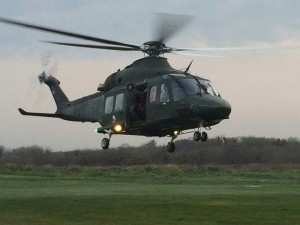 The Air Corps AW139 helicopter in action.