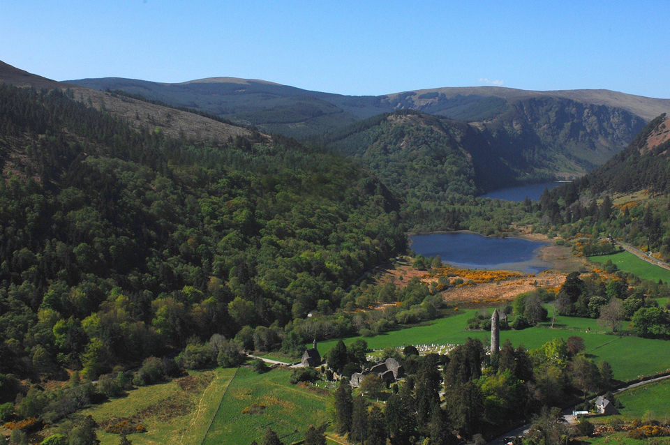 Looking down the glacial valley of Glendalough, taken from overhead the 6th century monastic settlement