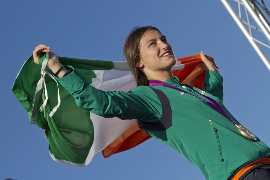 Katie Taylor with the Tricolor at her home coming in Bray (Pic.Michael Kelly)