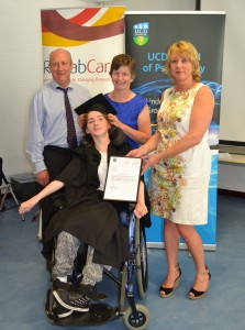 Aoife Hurley (front) pictured with Brian Miller, Disability Officer, HSE; her mother Ester Hurley; and Laura Keane Director of Health & Social Care Services, Rehab at the ceremony in UCD