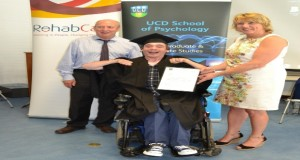 Luke Sterling (middle) pictured with Brian Miller, Disability Officer, HSE and Laura Keane, Director of Health & Social Care Services, Rehab at the ceremony in UCD