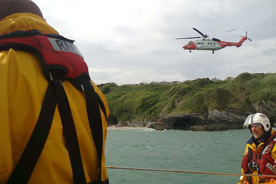 The Wicklow RNLI and Coast Guard at Silver strand on Wednesday afternoon