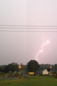 A lightning strike this morning (picture Rebecca Grant)