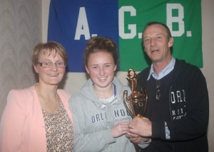 Aoife O'Reilly receiving Minor Player of the Year