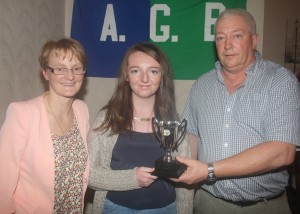 Kayleigh  receiving U16 Player of the Year
