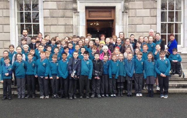 Minister Harris with 4th, 5th & 6th classes from Avoca NS