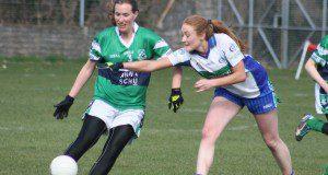 Aisling O hAnnaidh, Bray, gets her shot clear of Orla Byrne, AGB