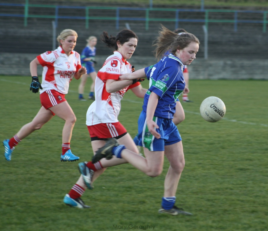 Kayleigh Carter, AGB, defends the AGB goal