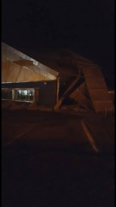 The damaged roof of the Coral Leisure centre