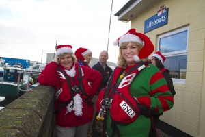 Lions Club members Bernie Tyrrell and Ailish Bain pictured at the launch of the Stephen's Day charity swim at the Arklow RNLI boathouse.