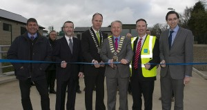 Andrew Doyle, County Manager Bryan Doyle, Sylvester Bourke, County Chairman John Ryan, Sean Laffey (Irish Water) and Simon Harris at the official opening of the Arklow ater treatment plant at Ballyduff, Arklow